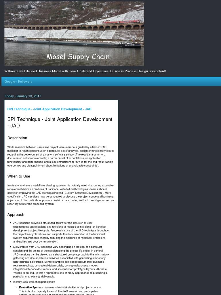 BPI Technique - Joint Application Development - JAD - BPI