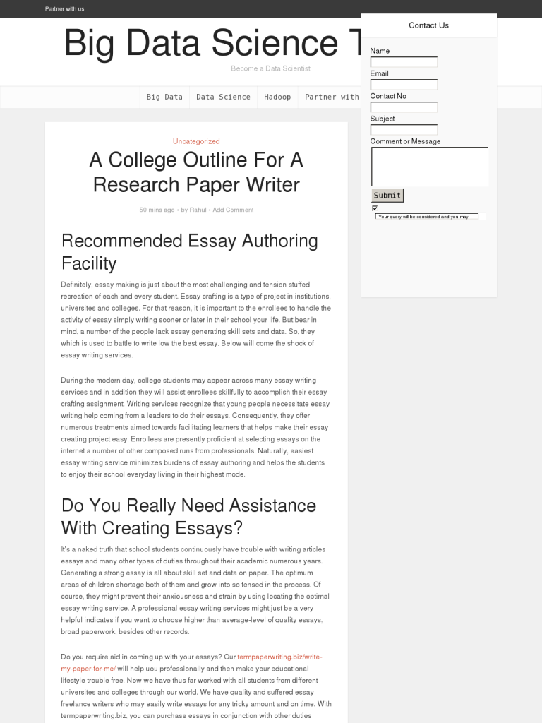 research paper outline template college