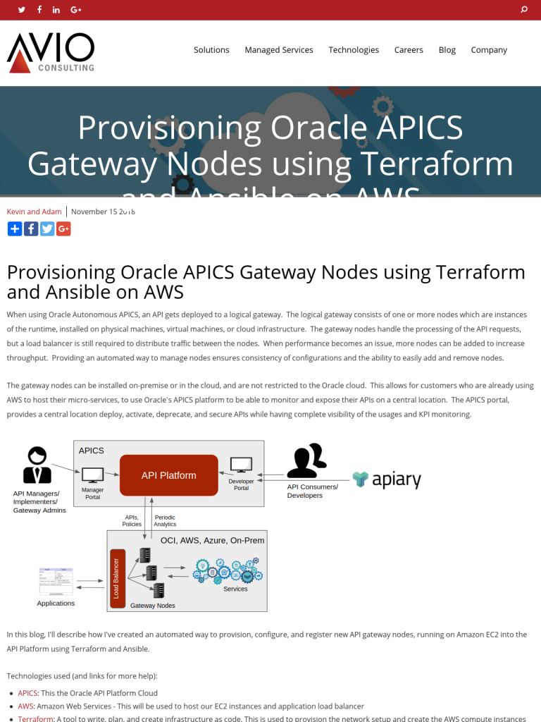 Provisioning Oracle APICS Gateway Nodes using Terraform and Ansible