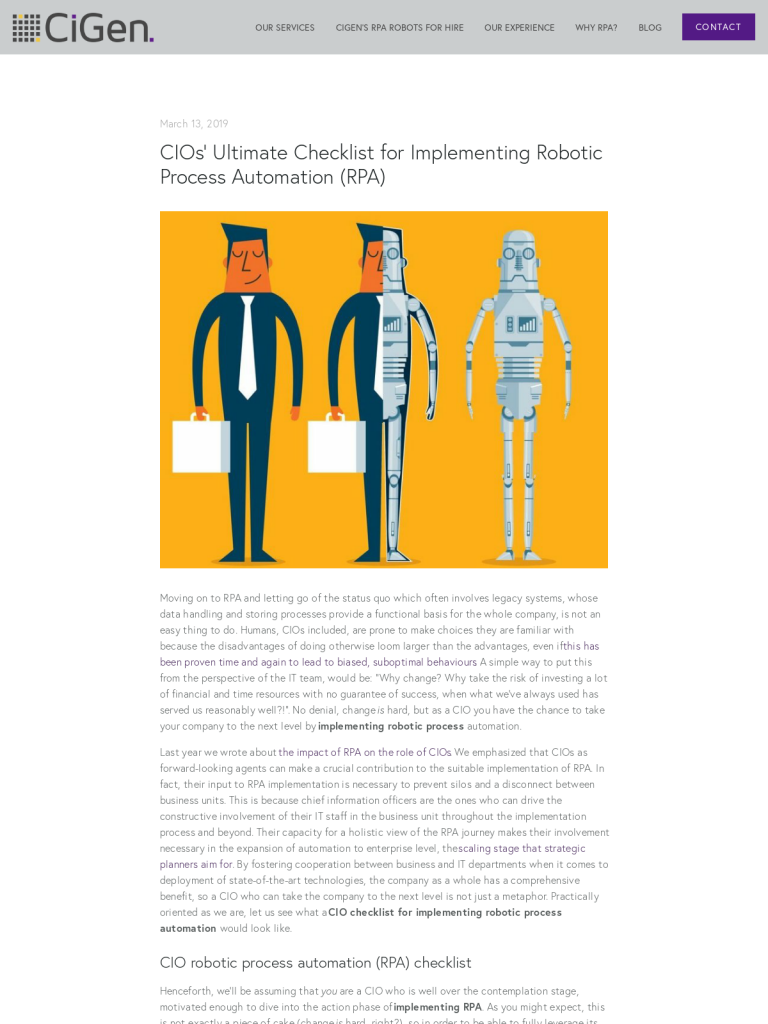 CIOs' Ultimate Checklist for Implementing Robotic Process