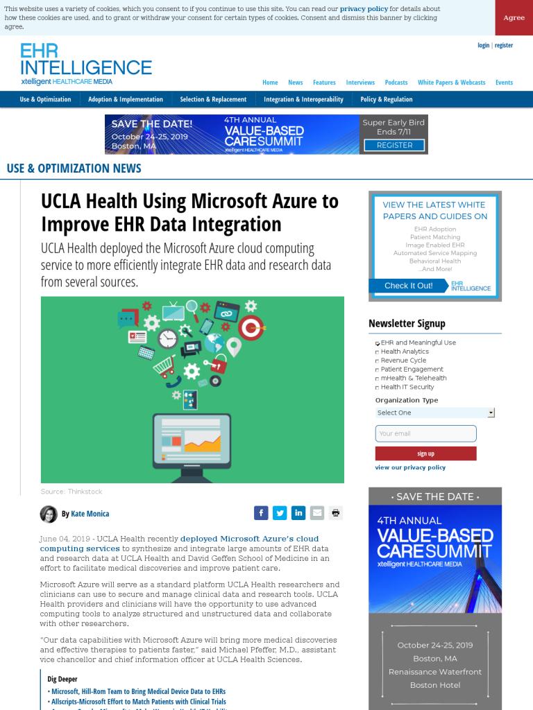 UCLA Health Using Microsoft Azure to Improve EHR Data Integration