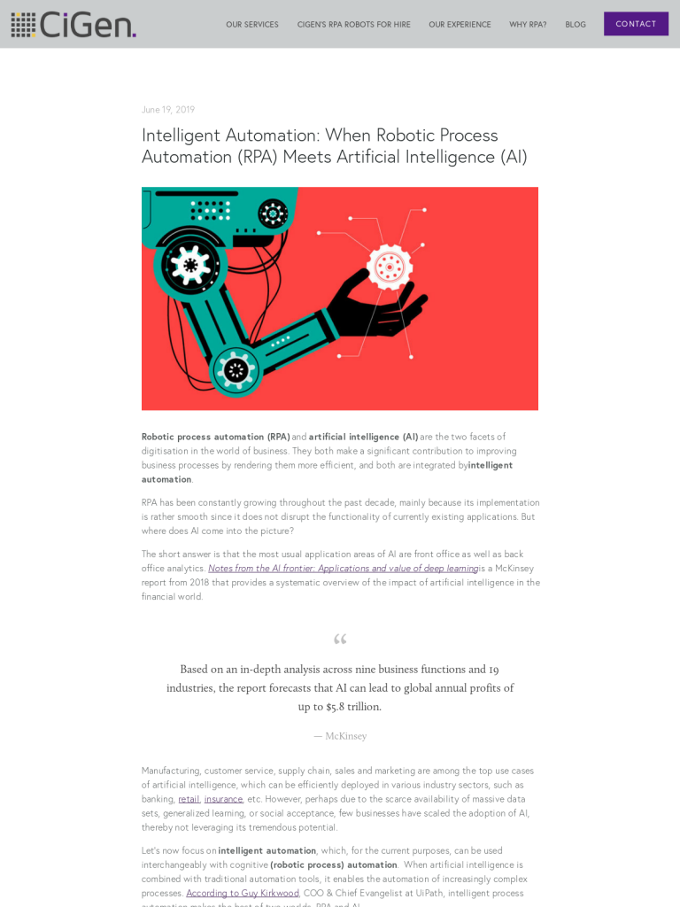 Intelligent Automation: When Robotic Process Automation (RPA